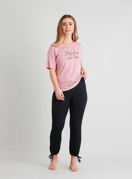 Active Pink Yoga Slogan T-Shirt