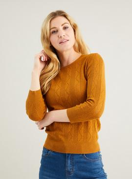 Tan Pointelle Fine Knit Jumper
