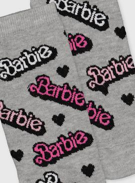 Barbie Logo Grey Ankle Socks - 4-8