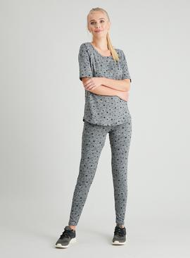 Active Grey Star Print Space Dye Top