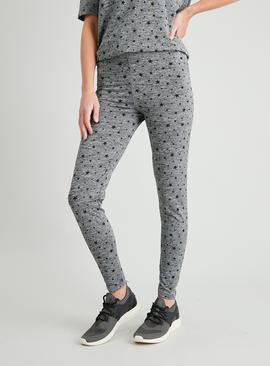 Active Grey Star Print Space Dye Leggings