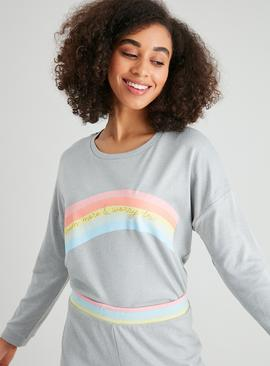 Grey Rainbow Slogan Pyjama Top