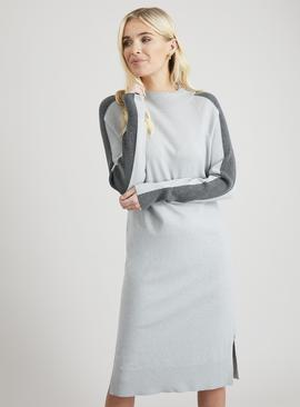 Grey Sporty Side Stripe Jumper Dress