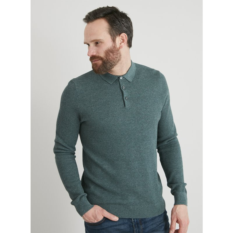 Green Long Sleeved Textured Polo Shirt from Argos