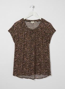 FATFACE Confetti Ditsy Print Short Sleeve Top