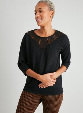 Black Lace Yoke Sweatshirt