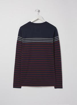 FATFACE Navy Stripe Long Sleeve Top