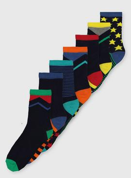 Assorted Patterned Ankle Socks 7 Pack
