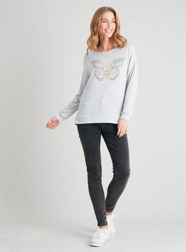 Grey Sparkle Butterfly Knitlook Top
