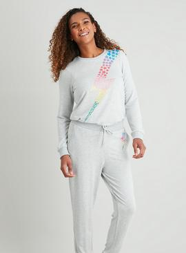 Grey Rainbow Glitter Star Lightning Bolt Sweatshirt