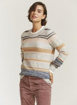 FATFACE Tweed Stripe Jumper With Wool