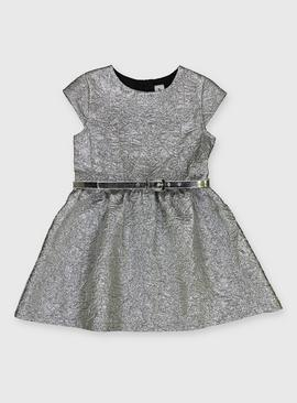 Metallic Silver Belted Party Dress