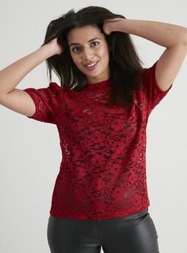 Dark Red Lace Top