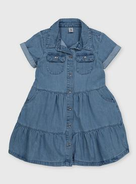 Blue Tiered Denim Dress