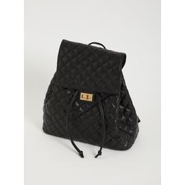Black Quilted Backpack - One Size