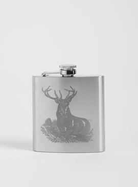 Silver Stag Hip Flask - One Size