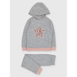 Grey Soft Touch Star Hooded Pyjamas