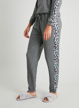 Grey Soft Knit Animal Trim Pyjama Bottoms