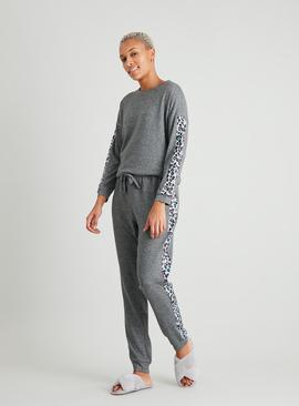 Grey Soft Knit Animal Trim Pyjama Top