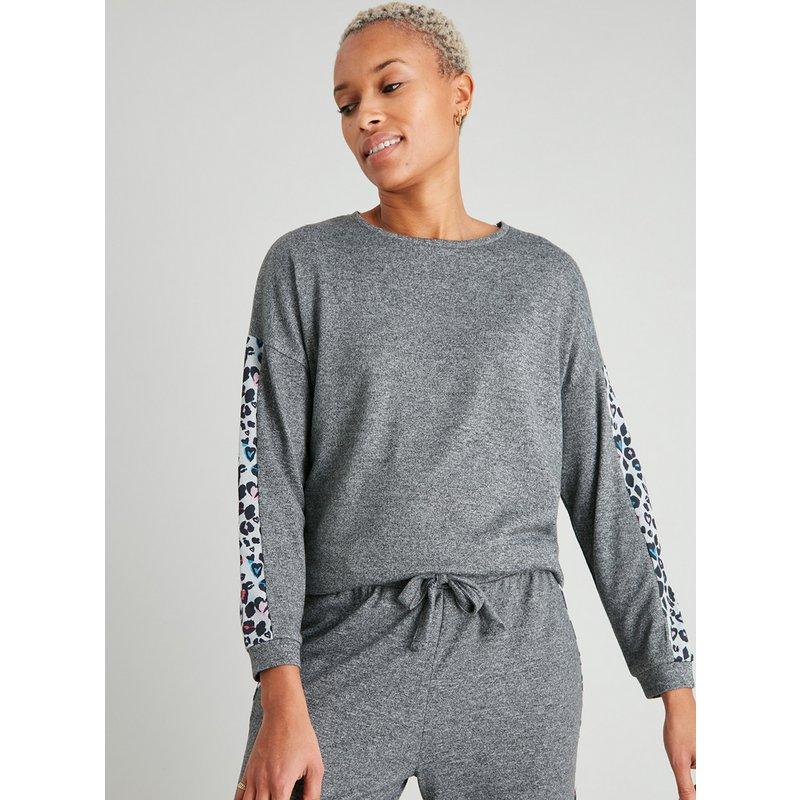 Grey Soft Knit Animal Trim Pyjama Top from Argos