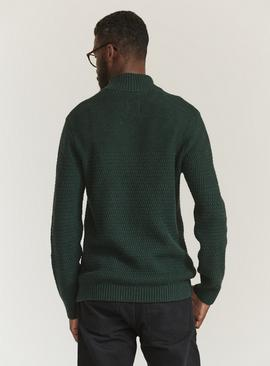 FATFACE Green Textured Half Zip Jumper