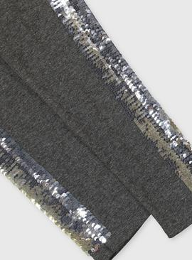 Grey & Pink Sequin Panel Leggings