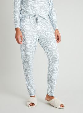 Grey Zebra Print Soft Knit Pyjama Bottoms