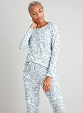 Grey Zebra Print Soft Knit Animal Pyjama Top