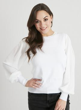 Fine Knit Sheer Sleeve Jumper