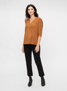 Tan 3/4 Sleeve Jersey Maternity Top