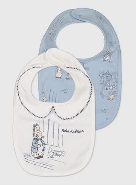 Peter Rabbit Blue & White Bibs 2 Pack - One Size