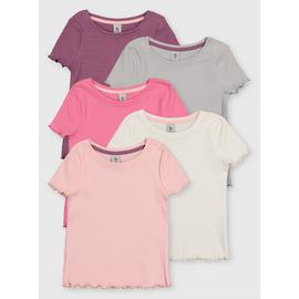 Pink Ribbed T-Shirts 5 Pack