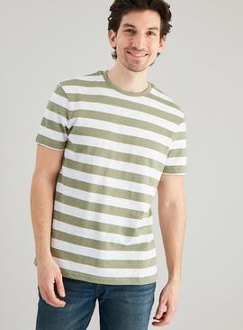 Khaki & White Stripe Crew Neck T-Shirt