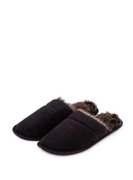 Black Check Velour Mule Slippers