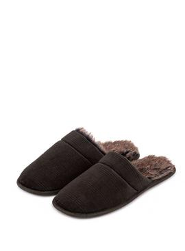 Khaki Check Velour Mule Slippers
