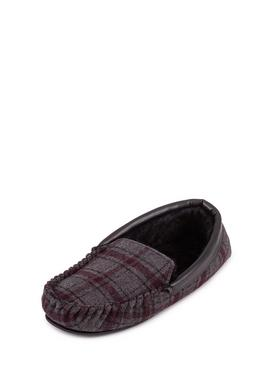 Grey Check Moccasin Slipper