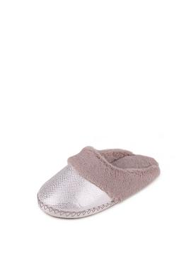 Grey Sparkle Snake Faux Suede Mule Slippers