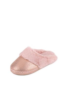 Pink Sparkle Snake Faux Suede Mule Slippers