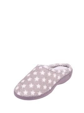 Isotoner Grey Star Popcorn Terry Mule Slippers