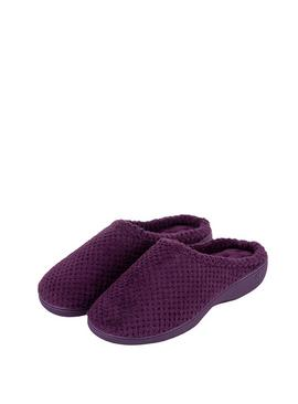 Isotoner Plum Star Popcorn Terry Mule Slippers