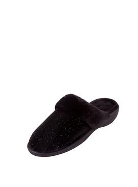 Black Sparkle Velour Heeled Mule Slippers