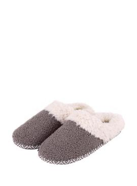 Grey Swept Back Bobble Mule Slippers