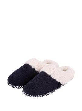 Navy Swept Back Bobble Mule Slippers