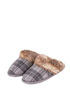 Isotoner Grey Check Mule Slipper With Faux Fur Cuff