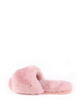 Rose Pink Lily Sheepskin Slider Slipper