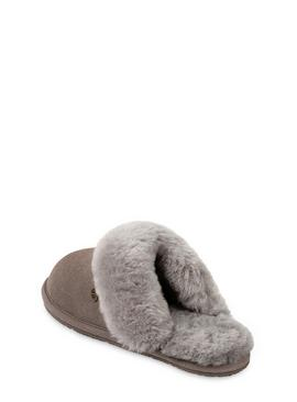 Grey Victoria Sheepskin Mule Slippers