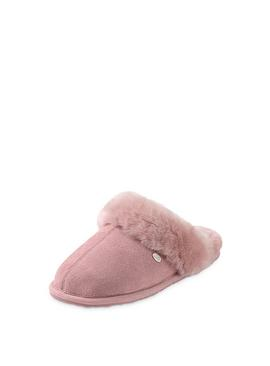 Rose Pink Victoria Sheepskin Mule Slippers