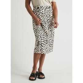 Animal Print Linen-Rich Midi Skirt
