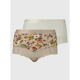 Secret Shaping Floral & Plain Brazilian Knicker 2 Pack