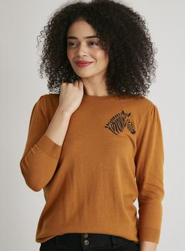 Tan Zebra Motif Crew Neck Jumper
